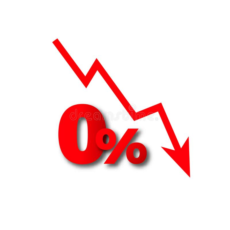 Perdita dei soldi più le percentuali zero illustrazione vettoriale