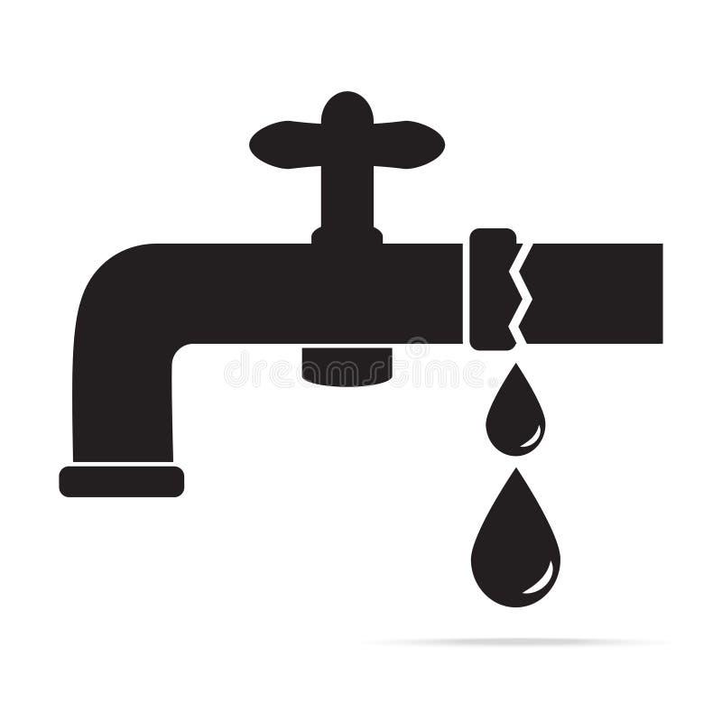 Perdita dell'acqua dall'illustrazione dell'icona del rubinetto illustrazione vettoriale