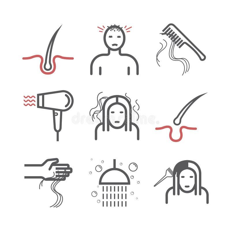 Perdita di capelli Linea icone messe Segni di vettore per i grafici di web Infographics illustrazione di stock