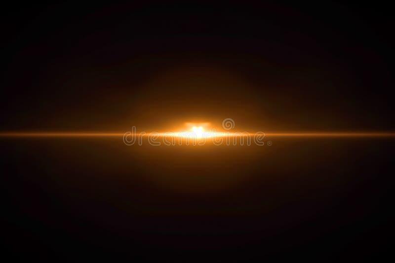 Perdite e sovrapposizioni leggere reali del chiarore della lente, colore caldo fresco della tinta dell'oro illustrazione di stock