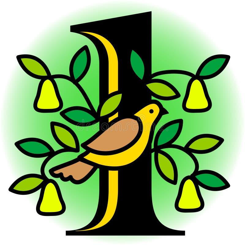 Perdiz em uma árvore de pera/eps ilustração royalty free