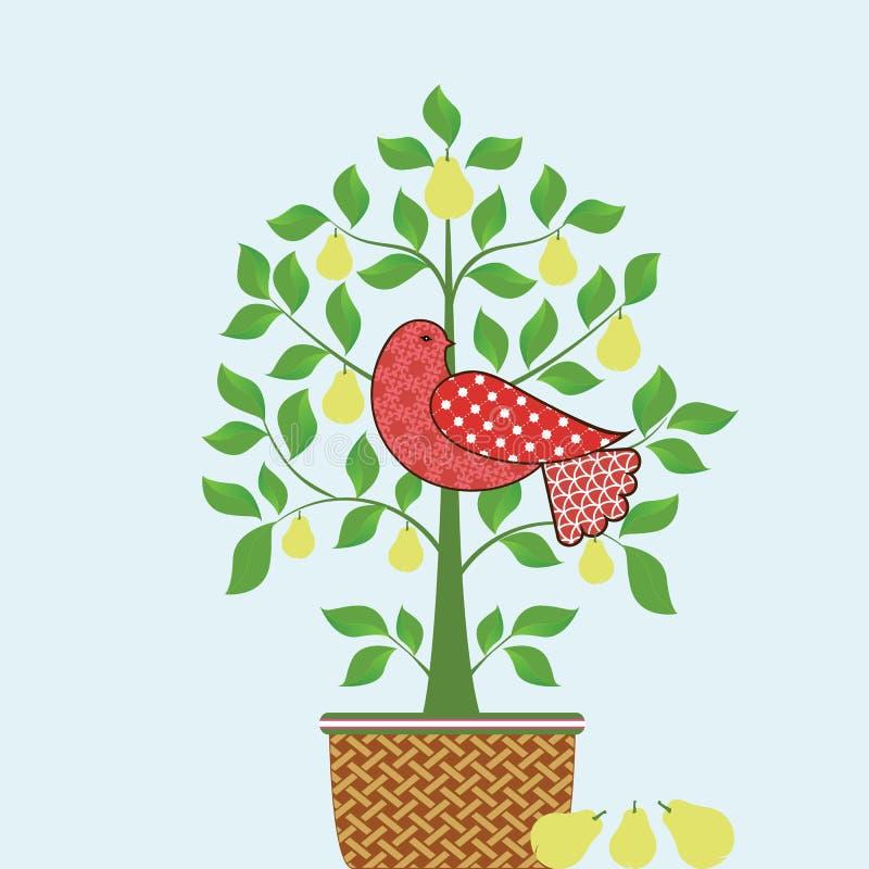 Perdiz en un árbol de pera con la cesta