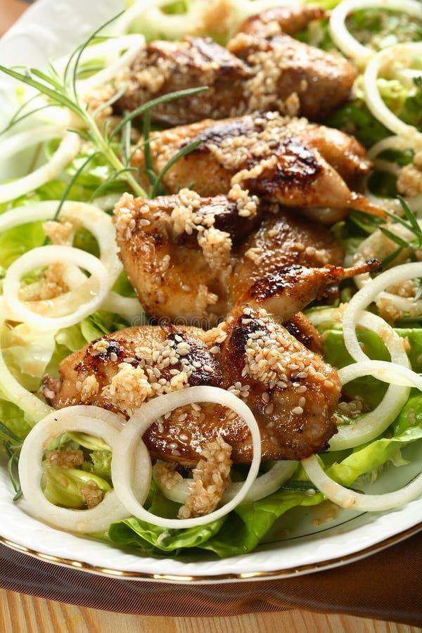 Perdrix avec de la salade et l'oignon images libres de droits
