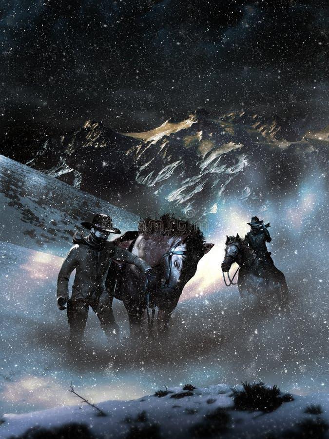 Perdu dans les neige de hautes montagnes illustration libre de droits