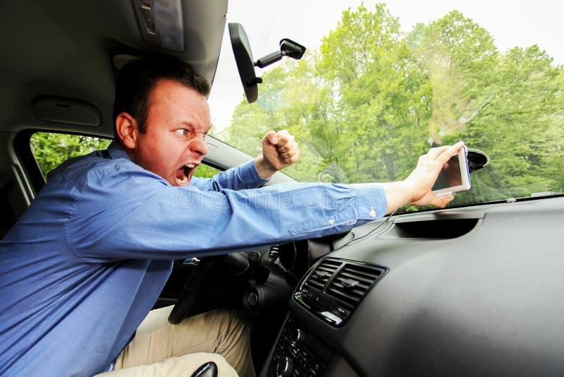 Perdu et fou au dispositif de GPS photos stock