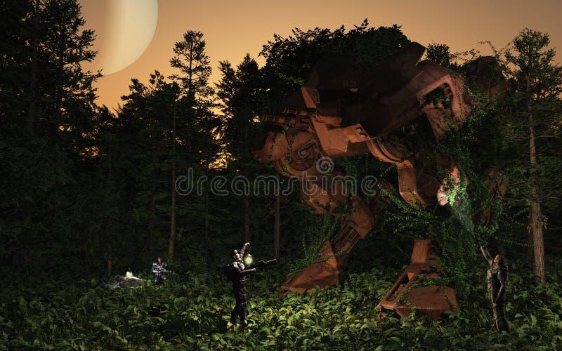 Perdu et trouvé - luttez le droid dans la forêt illustration libre de droits