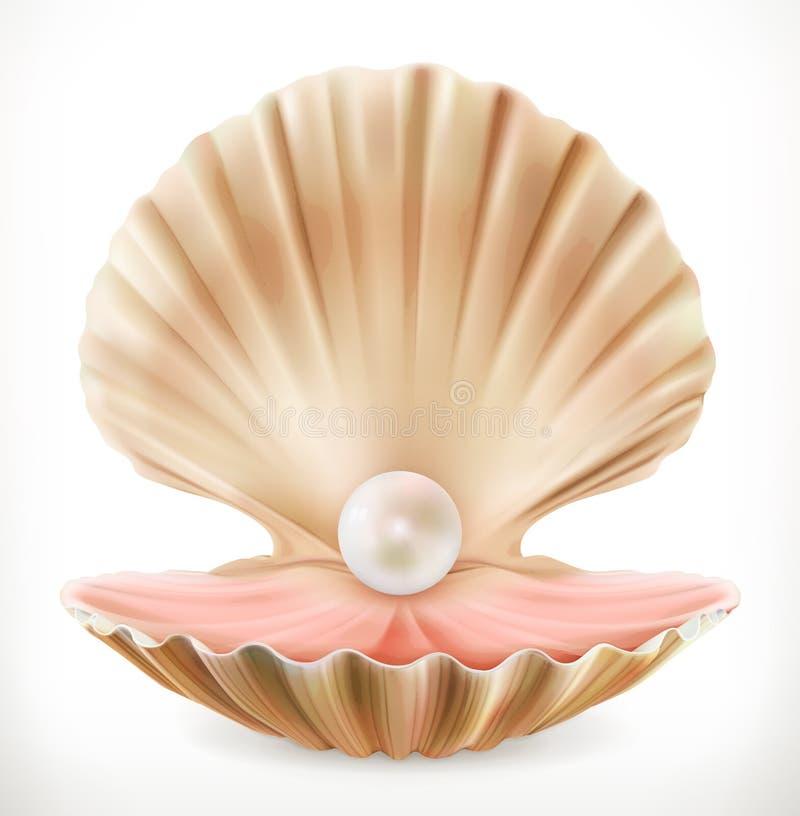 perełkowa skorupa Milczek, ostrygowa 3d wektoru ikona ilustracji