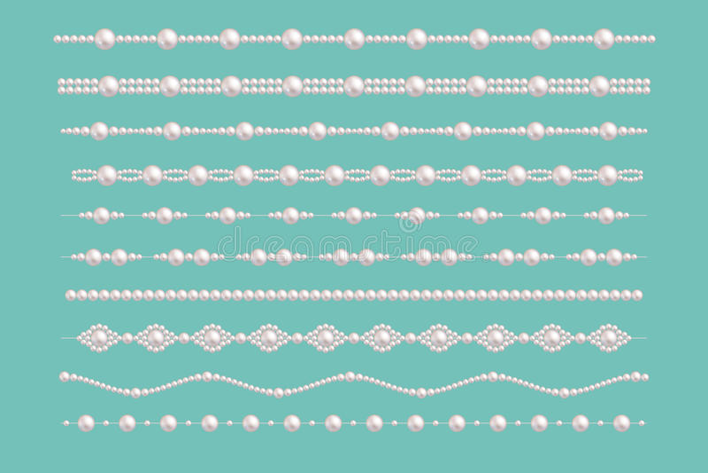 Perełkowe splendor granicy Wektorowi pann młodych pereł rocznika akcesoriów kolii wzory odizolowywający na zieleni ilustracja wektor