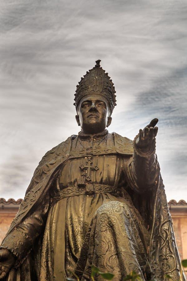 Pere霍安坎平斯主教雕象在de lluc Monastery 免版税图库摄影