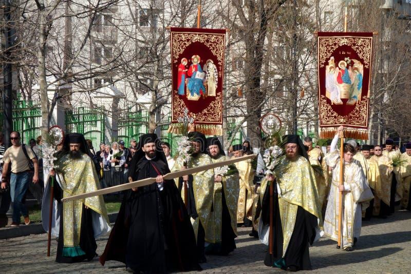 Peregrinaje ortodoxo para Ramos Domingo en Bucarest fotografía de archivo libre de regalías
