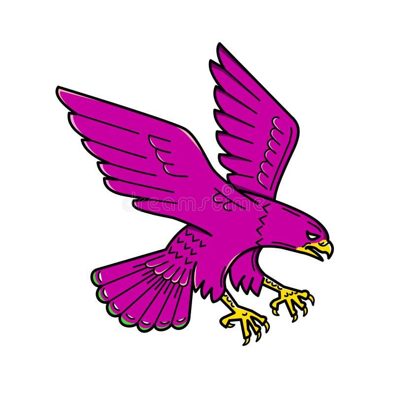 Peregrine Falcon Swoop Mono Line ilustração do vetor