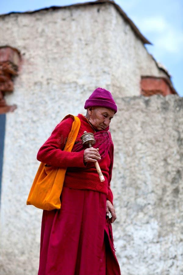 Peregrino en Lamayuru, la India fotografía de archivo libre de regalías