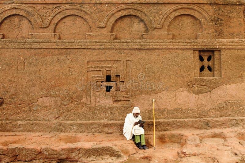 Peregrino etíope en Lalibela imagen de archivo