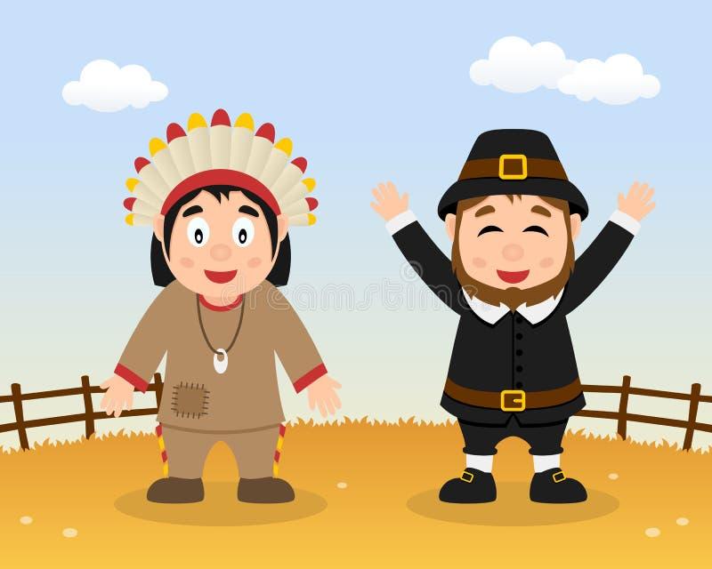 Peregrino feliz da ação de graças & homens nativos ilustração stock