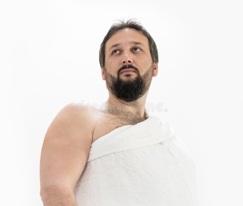 Peregrino muçulmano com roupa do Haj fotos de stock