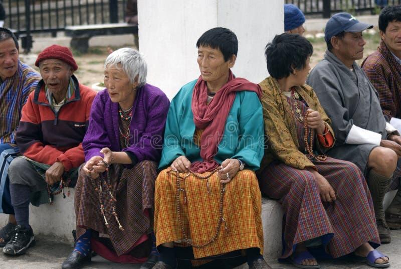 Peregrinos budistas, Thimphu, Bhután fotografía de archivo libre de regalías