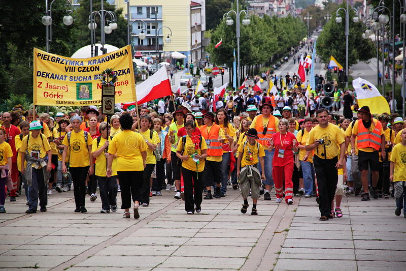 Peregrinos em Czestochowa fotografia de stock