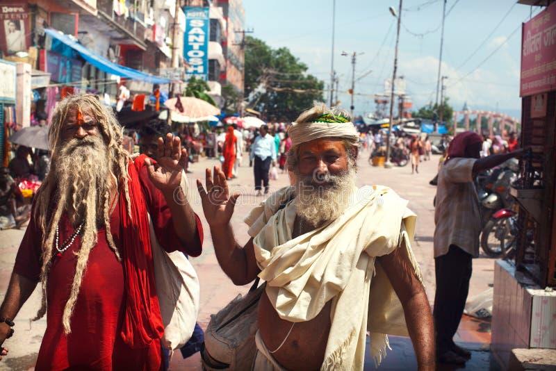 Peregrinos em Haridwar fotografia de stock