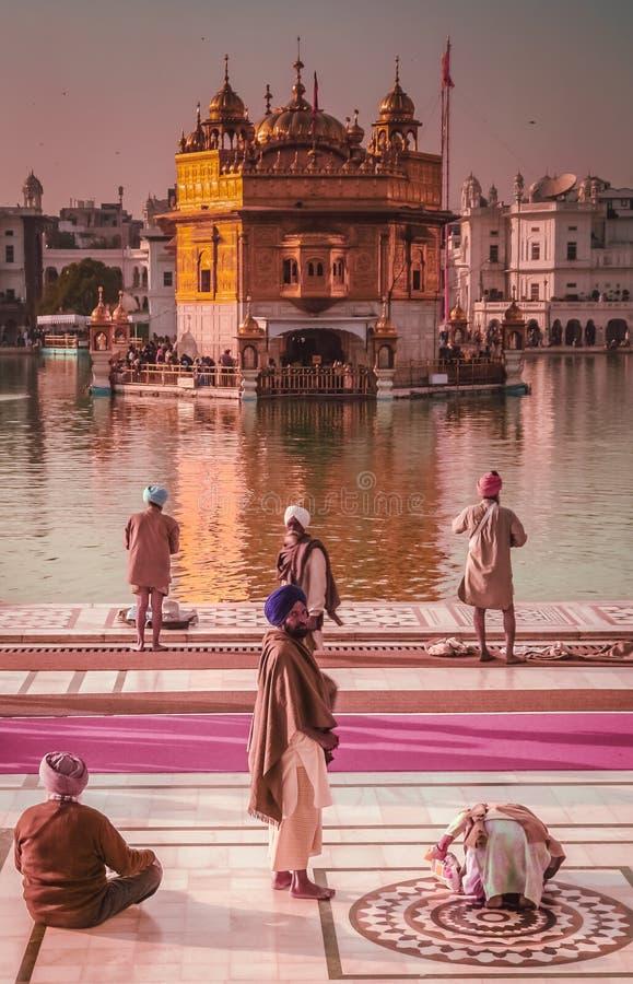 Peregrinos en el templo de oro en la India fotos de archivo libres de regalías