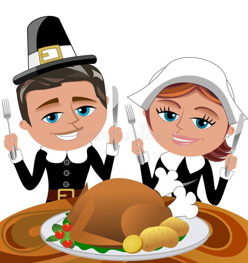 Peregrinos felizes dos desenhos animados que comem o assado Turquia ilustração royalty free