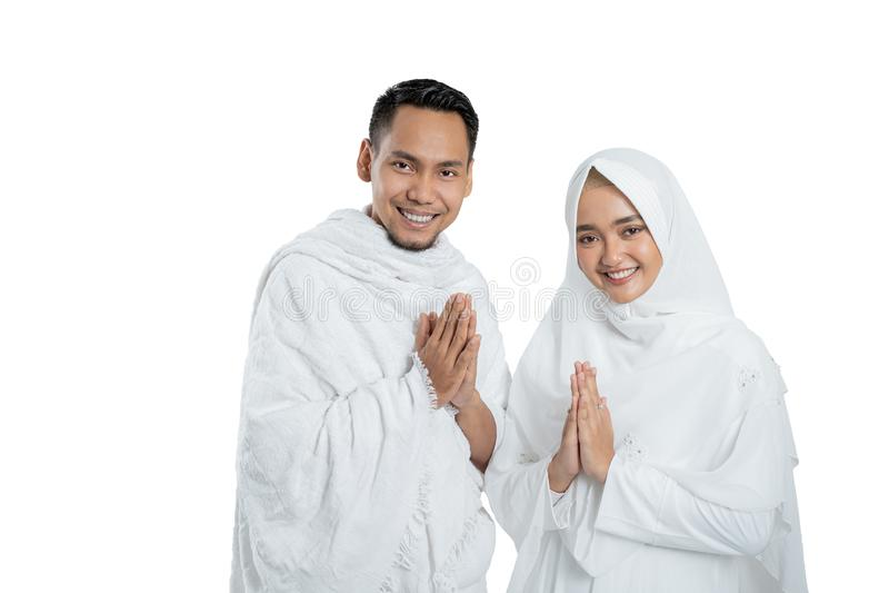 Peregrinos muçulmanos esposa e marido prontos para o Haj fotografia de stock