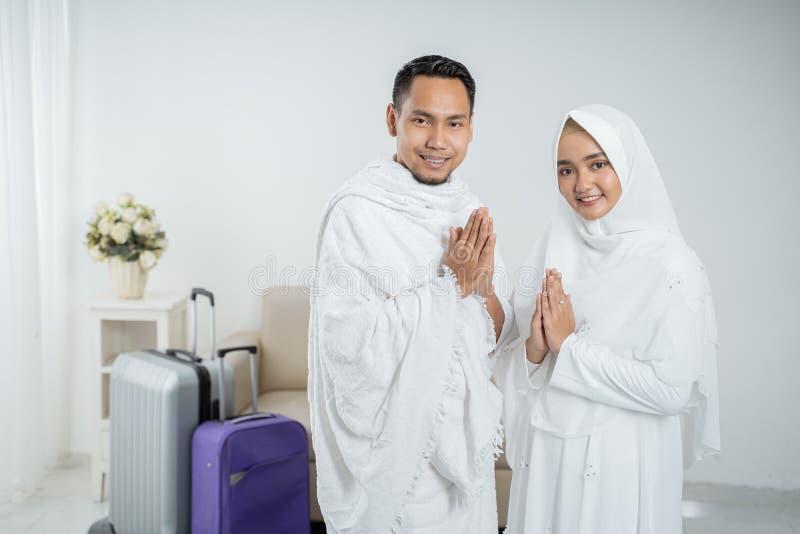 Peregrinos muçulmanos esposa e marido prontos para o Haj fotografia de stock royalty free
