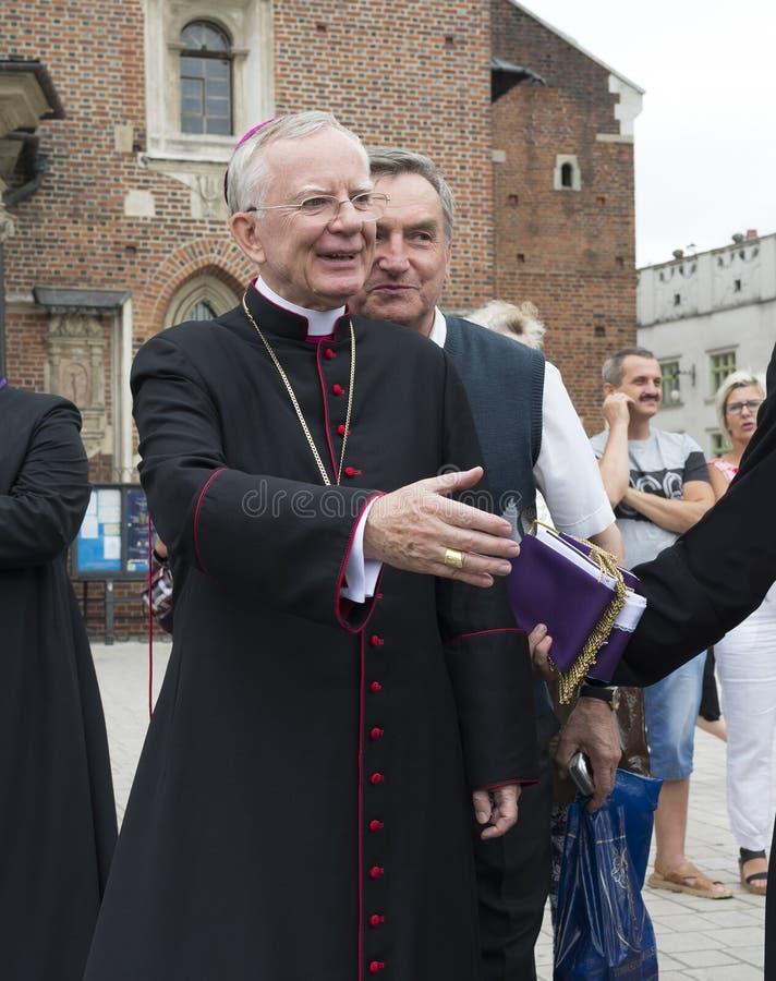 Peregrinos que alcançam o santuário de Madonna preto de Jasna Gora imagens de stock royalty free