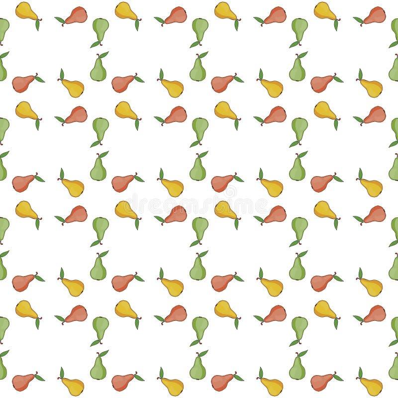 Peren groene, gele, rode vector Naadloze patroonachtergrond met kleurrijke vruchten royalty-vrije illustratie