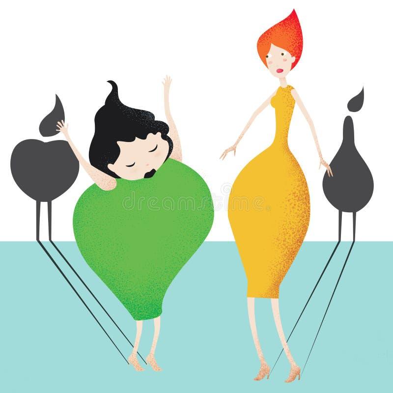 Perenmeisje en appelmeisje stock afbeelding