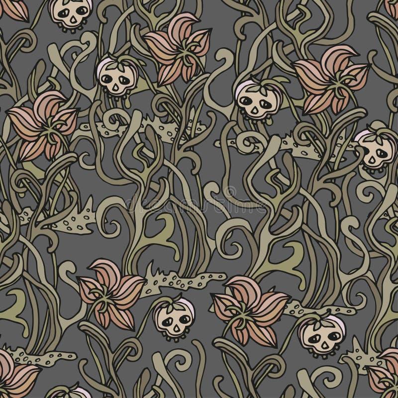 无缝的背景为与perepletjonnymi植物和头骨的万圣节 向量例证