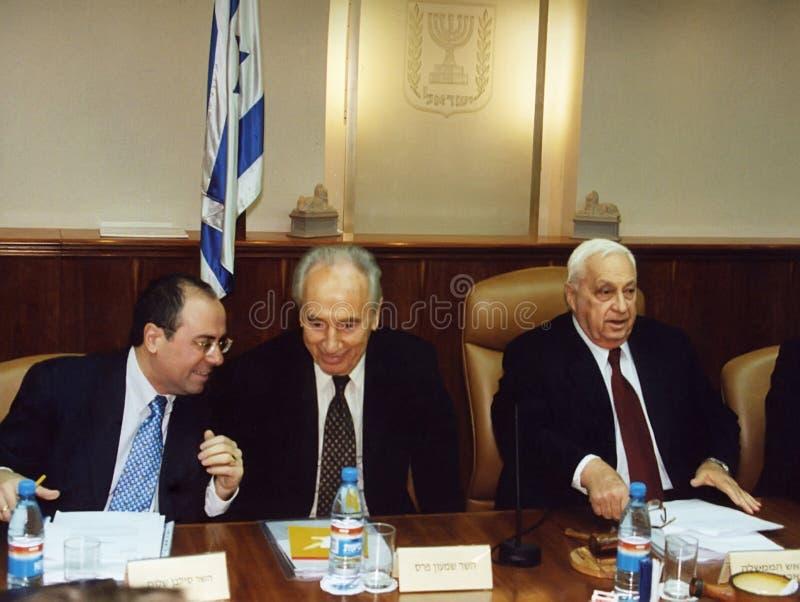 Peres en la reunión del gabinete con Sharon fotos de archivo