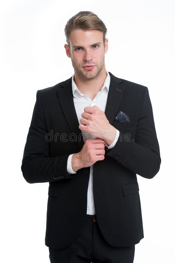 Perfeccione en cada detalle El traje formal elegante no manual desabrochado bien preparado del hombre aisló el fondo blanco macho foto de archivo