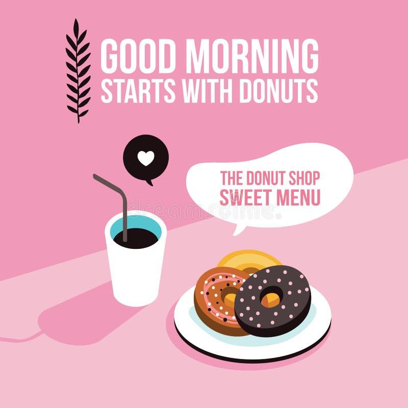 Perfect śniadaniowego Donuts Kawowego tła projekta Nowożytny płaski isometric styl royalty ilustracja