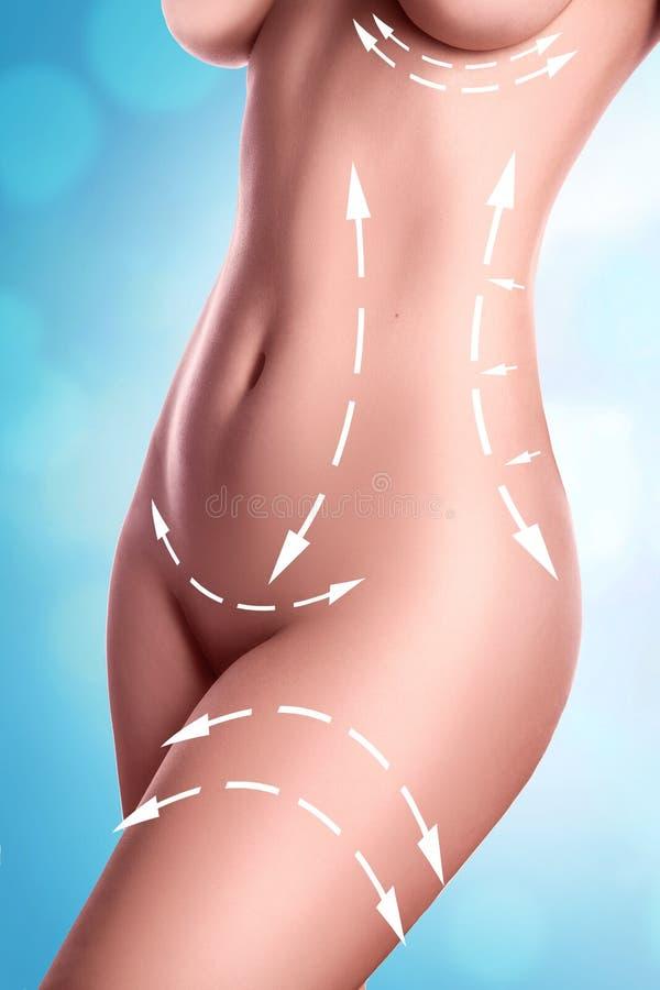 Download Perfect żeński Ciało Z Rysunek Strzała Na Nim I Lampasami Cellu Obraz Stock - Obraz złożonej z pojęcie, strumyk: 57664133