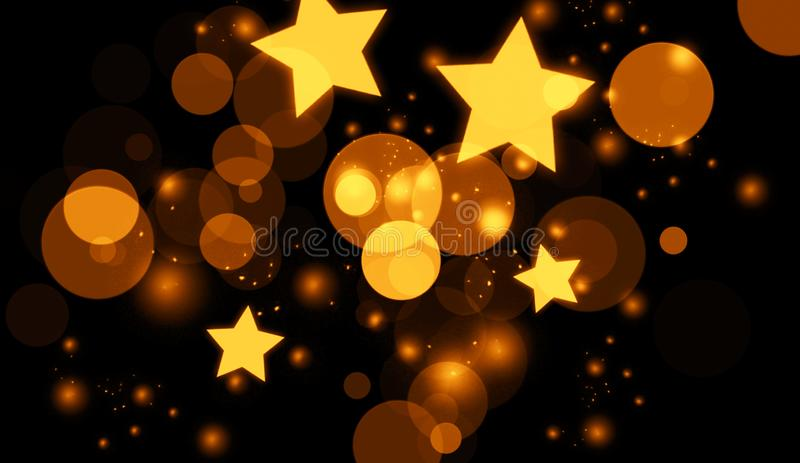 Perfect abstract gold bokeh for background. Glitters light texture royalty free illustration