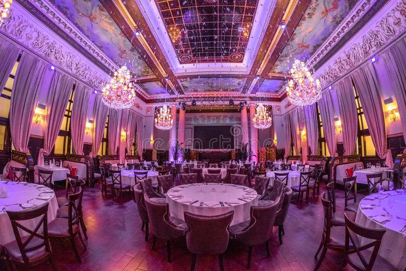 Beautiful restaurant hall invites you to relax royalty free stock photo