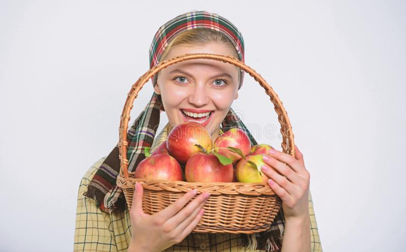 Perfect apple. Grocery store. Start apple diet. Woman likes natural fruits. Farmer gardener apple harvest. Girl gardener stock photos