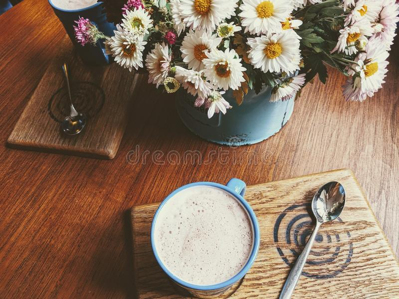 Perfect autumn morning in cozy caffe royalty free stock photo