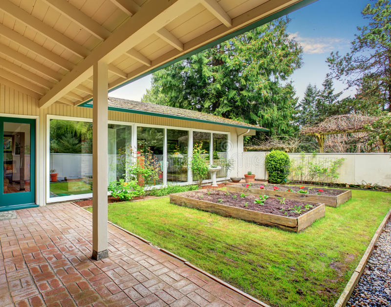Perfect back yard with garden area. stock photography