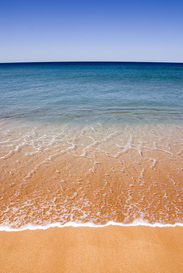 Perfect Beach Gold Sand Stock Photo