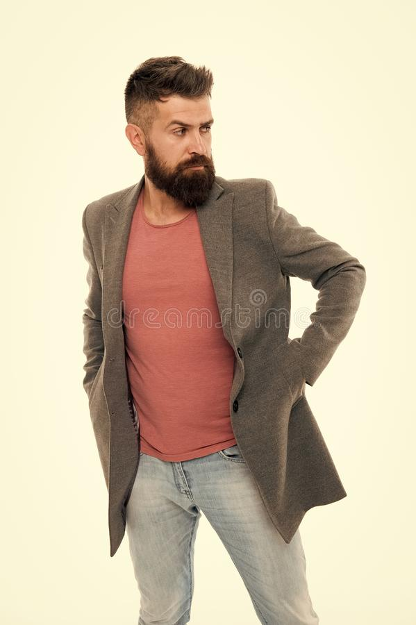 Perfect beard. Mature hipster with beard. Bearded man. Confident and handsome Brutal man. Hair and beard care. Male royalty free stock images