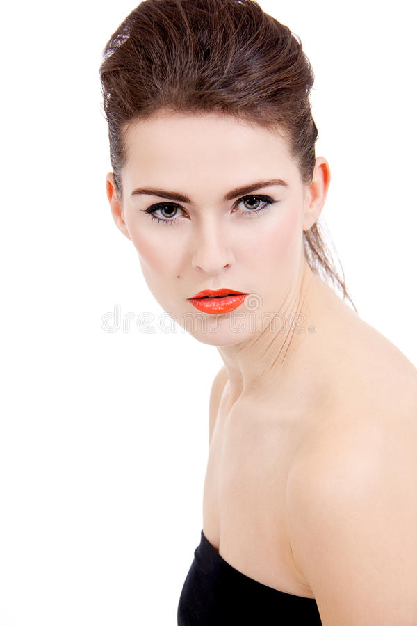 Download Perfect Beauty Woman Face With Orange Lips Isolated Stock Photo - Image: 28714224