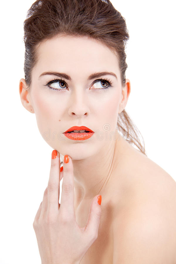 Download Perfect Beauty Woman Face With Orange Lips Isolated Stock Image - Image: 28714249