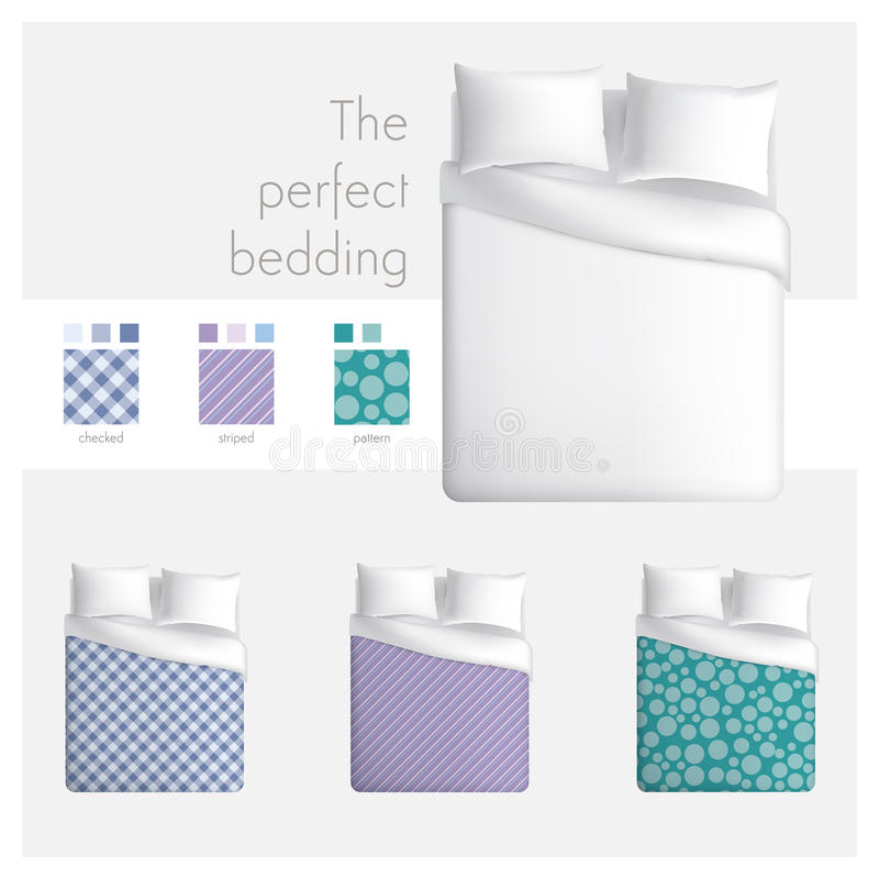 The perfect bedding. Design with top view bed fot textile and linen mock up, three patterns with swatches included vector illustration