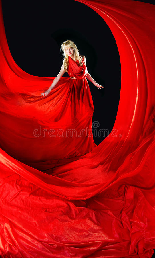 Free Perfect Blonde In A Red Dress Royalty Free Stock Image - 14554216