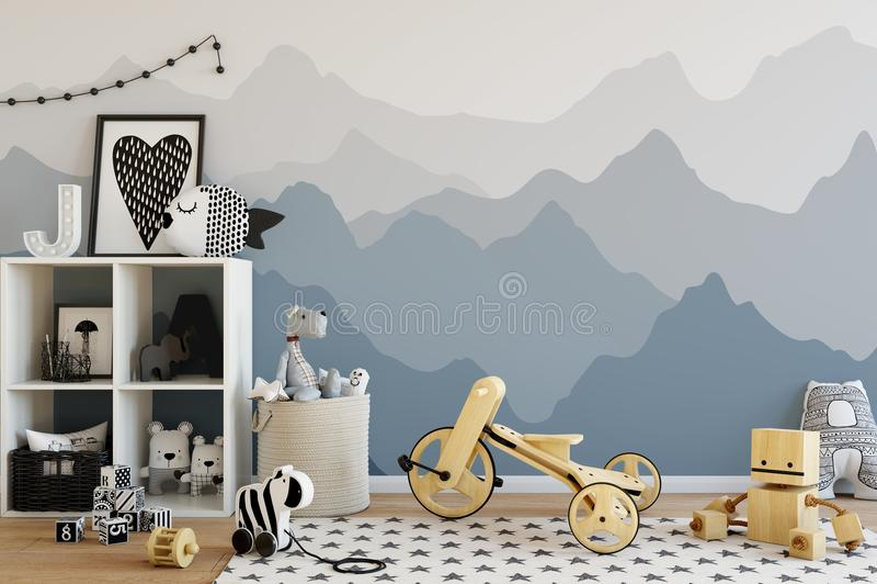 Mock up wall in child room interior. Interior scandinavian style. 3d rendering, 3d illustration royalty free illustration