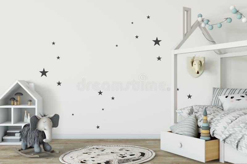Mock up wall in child room interior. Interior scandinavian style. 3d rendering, 3d illustration stock illustration