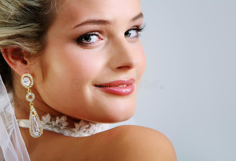 Perfect bride. Portrait of pretty bride looking at camera royalty free stock images