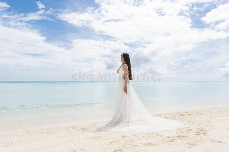 The perfect bride. A young bride in a white dress is standing on a snow-white beach royalty free stock images
