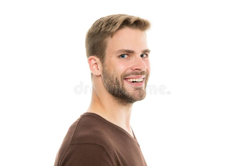 Perfect bristle trimming tips. Barber hairdresser and self care. Male fashion and beauty. Bearded hipster trimming. Man. Handsome well groomed bristle close up stock image
